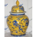 "Temple Jar Yellow and Blue Dragon 18"" Oshun"