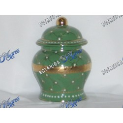 "Small Green Jar with Golden Band 6""x4"""