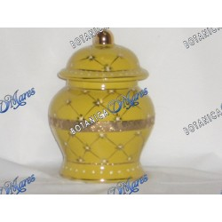 "Small Yellow Jar with Golden Band 6""x4"""