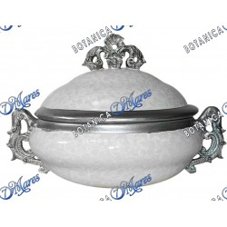 "White and Silver  Soup Tureen 14"" x 10"" x 9"""