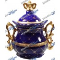 "Yemaya Jar Blue and Gold With Crown 10"" x 8"""