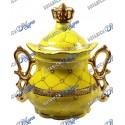 "Oshun Jar Yellow and Gold With Crown 10"" x 8"""