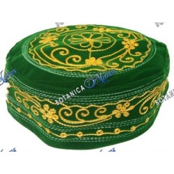 Green / Gold  Embroidery Prayer Hat