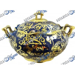 "Yemaya Soup Tureen with Gold Accents 11""x6"""